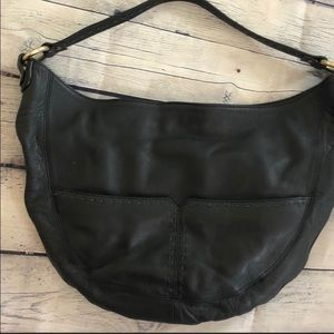 Sigrid Olsen Black leather hobo bag gold detail